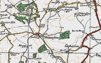 Old map of Aveley Wood in 1921