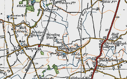 Old map of Shimpling in 1921
