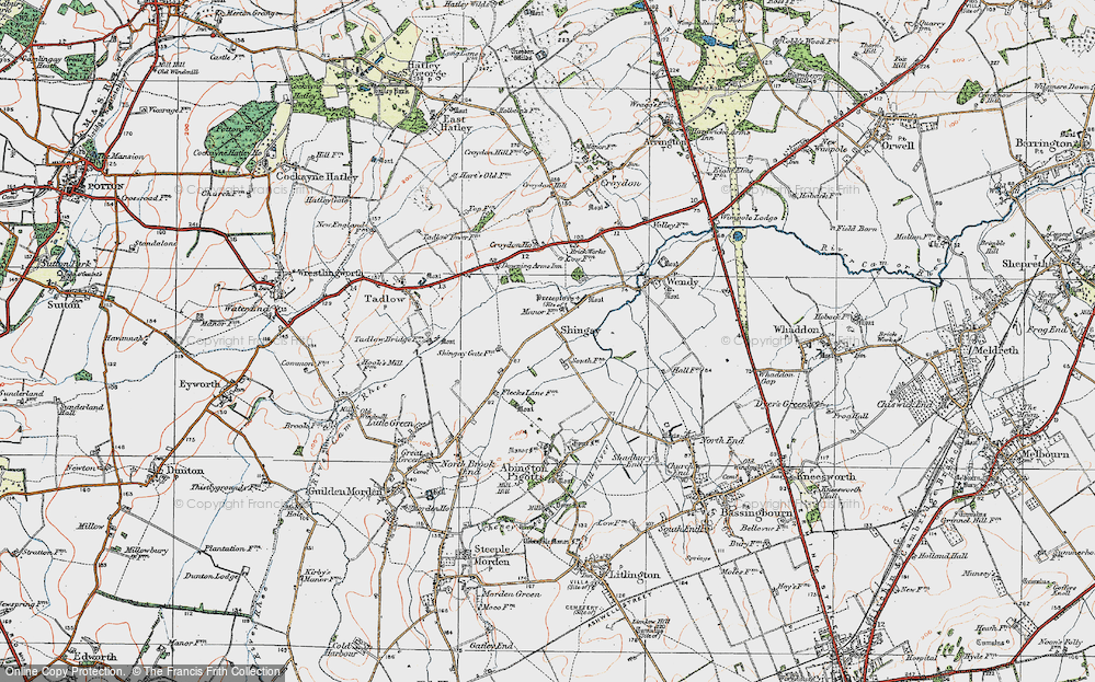 Old Map of Shingay, 1919 in 1919