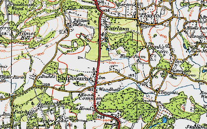 Old map of Shipbourne in 1920