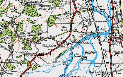Old map of Shiplake in 1919