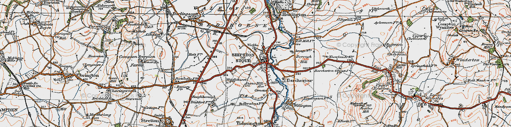 Old map of Shipston-on-Stour in 1919