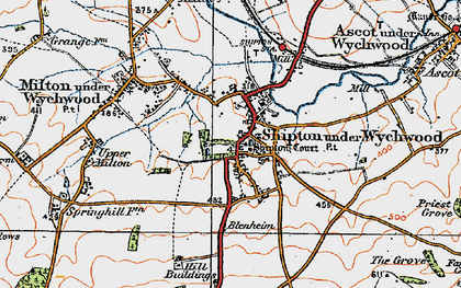 Old map of Shipton under Wychwood in 1919