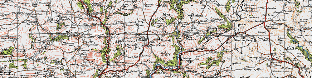 Old map of Shirwell in 1919