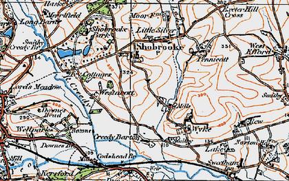 Old map of Westacott Cotts in 1919