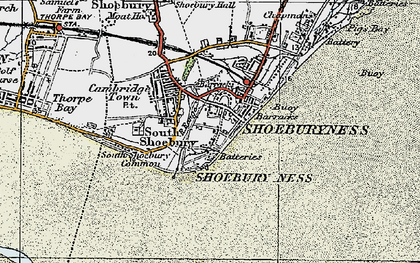 Old map of Shoeburyness in 1921