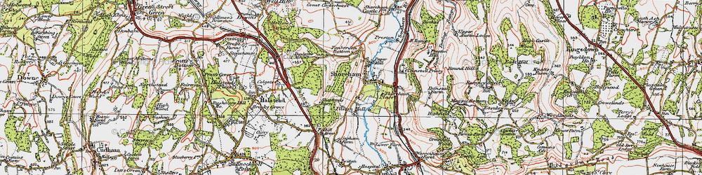 Old map of Shoreham in 1920