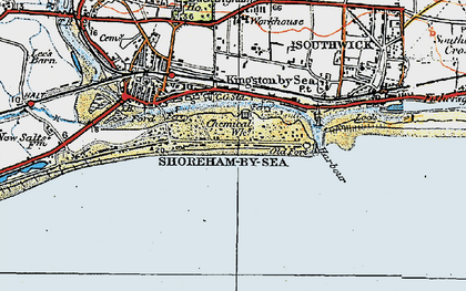 Old map of Shoreham-By-Sea in 1920