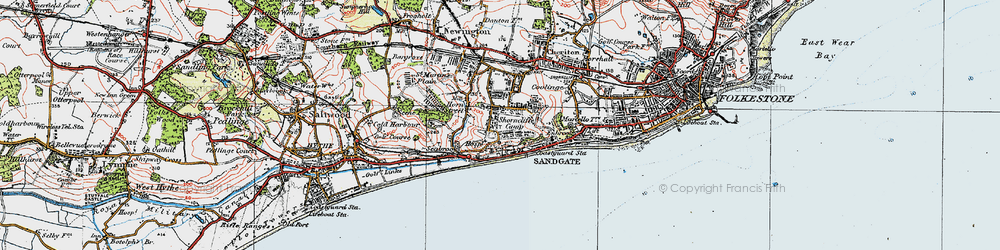 Old map of Shorncliffe Camp in 1920