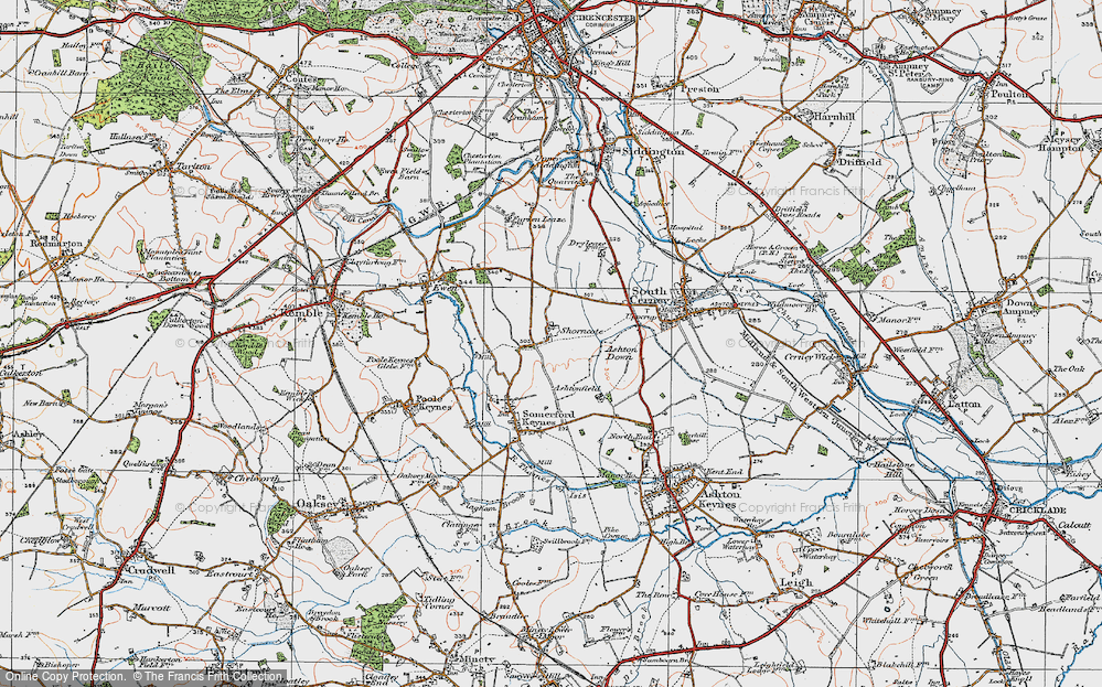 Old Map of Historic Map covering Ashton Down in 1919