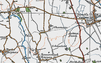 Old map of Ashton Down in 1919