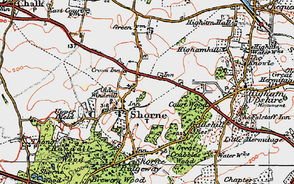 Old map of Shorne in 1920