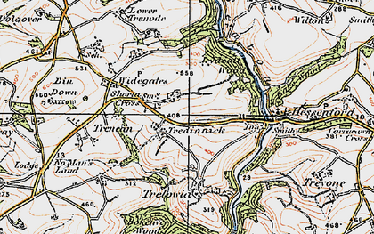 Old map of Shortacross in 1919