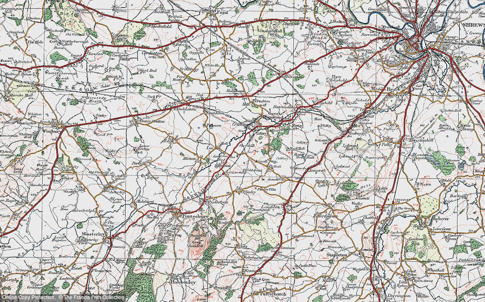 Old Map of Historic Map covering Lea Cross in 1921