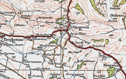 Old map of Shorwell in 1919