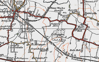 Old map of Shotgate in 1921