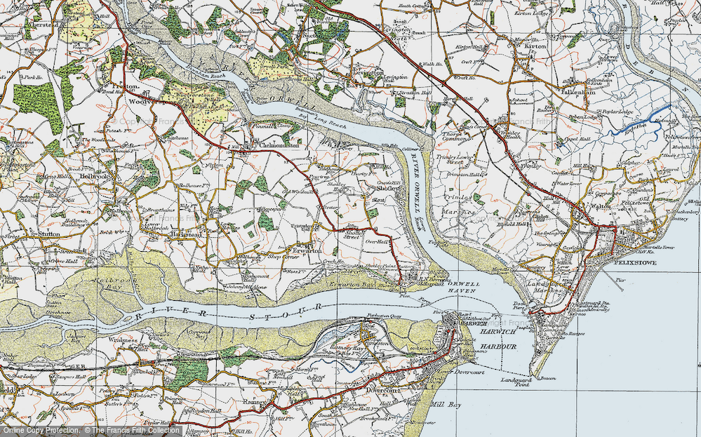 Old Map of Shotley, 1921 in 1921