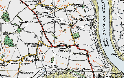 Old map of Shotley in 1921