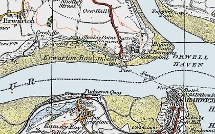Old map of Shotley Gate in 1921