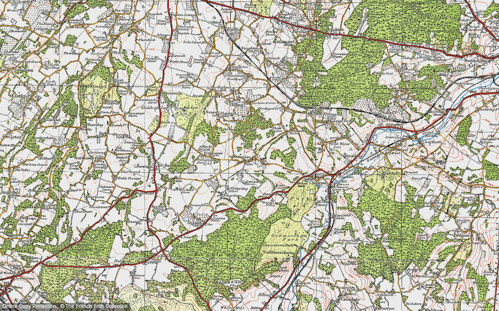 Old Map of Historic Map covering Woods Court in 1921