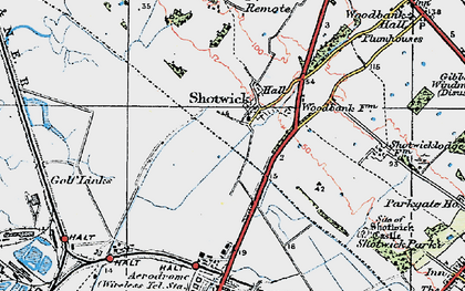 Old map of Shotwick in 1924