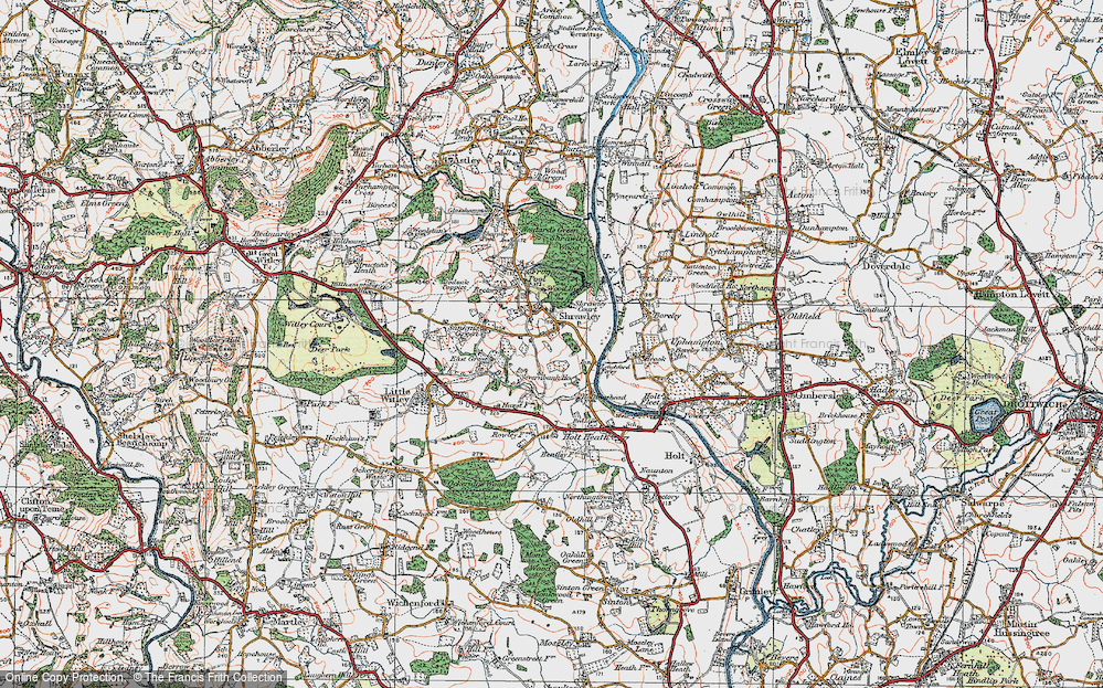 Old Map of Shrawley, 1920 in 1920