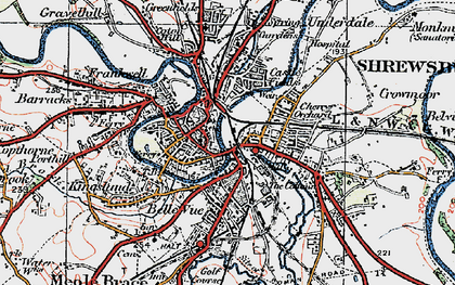 Old map of Shrewsbury in 1921
