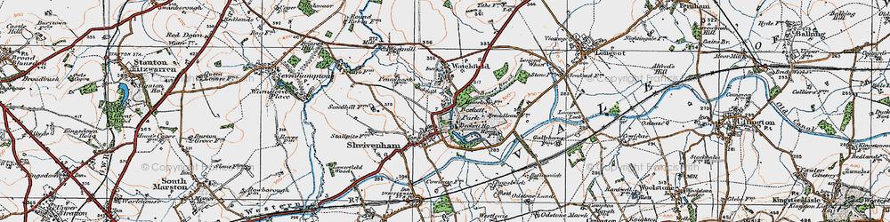 Old map of Shrivenham in 1919
