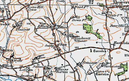Old map of Yendacott Manor in 1919