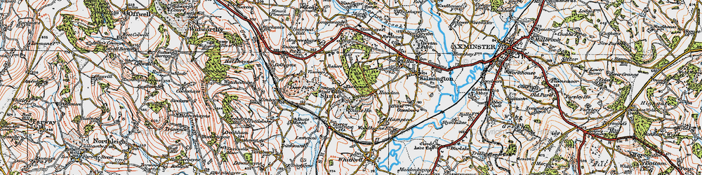 Old map of Shute in 1919