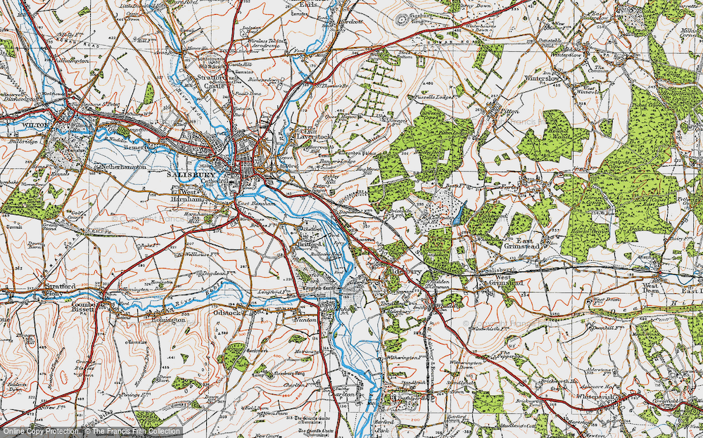 Old Map of Historic Map covering Ashley Hill in 1919