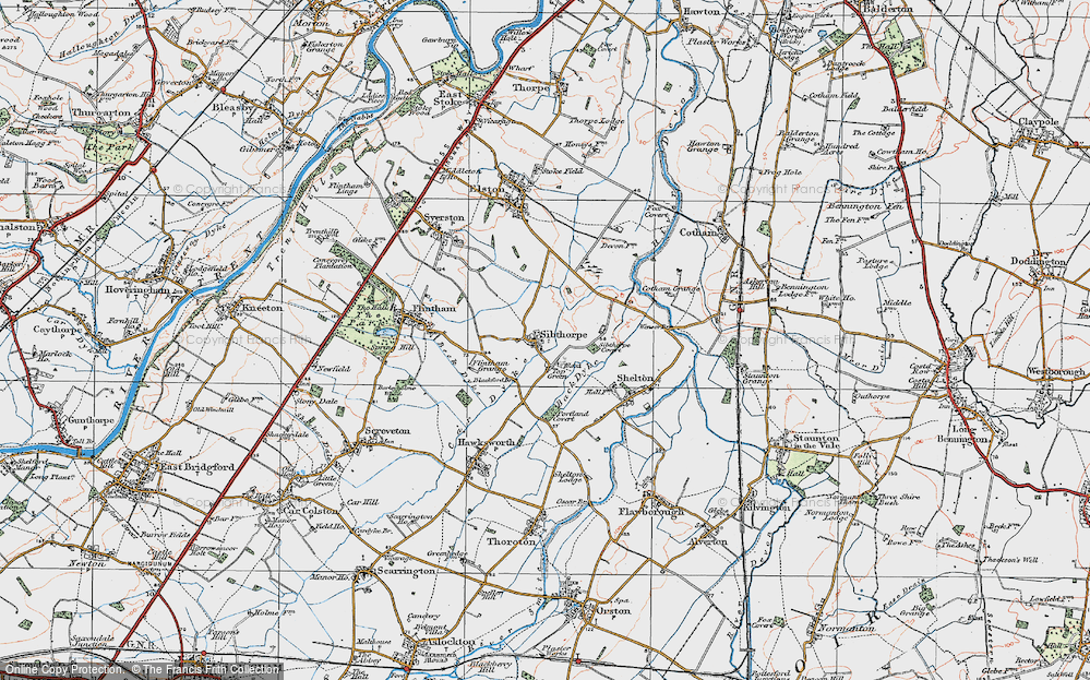 Old Map of Historic Map covering Back Dyke in 1921