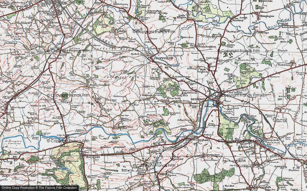 Old Map of Historic Map covering Linton Springs (Hotel) in 1925