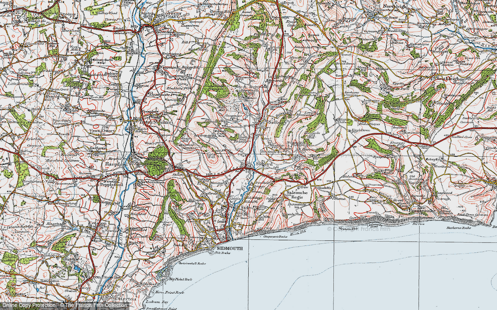 Old Map of Sidford, 1919 in 1919