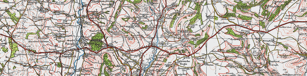 Old map of Sidford in 1919