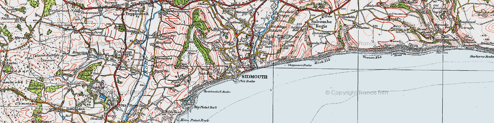 Old map of Sidmouth in 1919