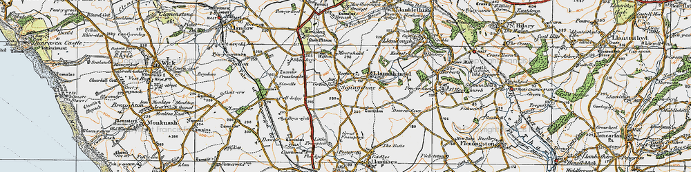 Old map of Sigingstone in 1922