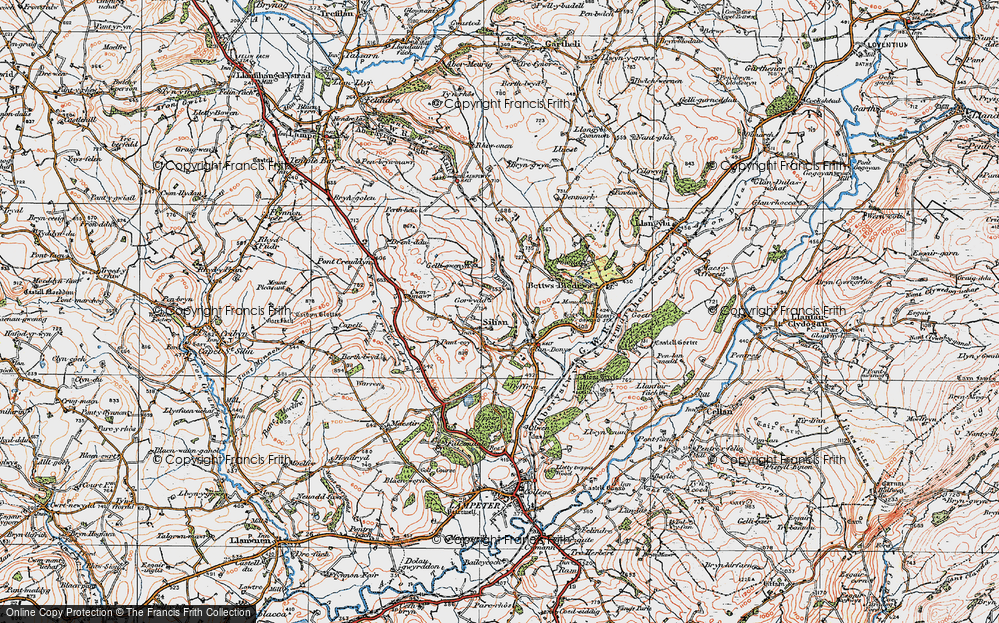 Old Map of Historic Map covering Afon Denys in 1923
