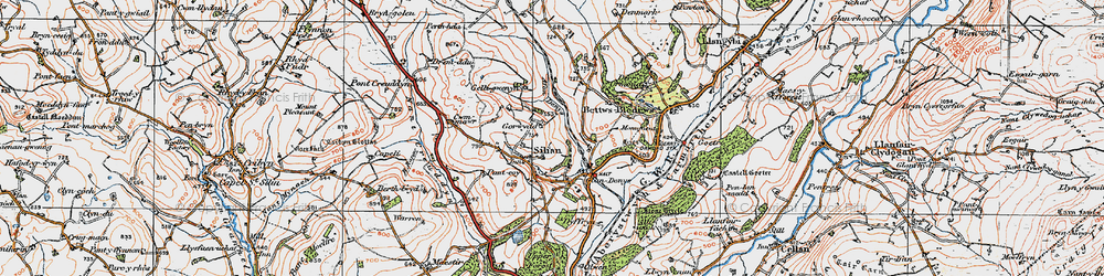 Old map of Afon Denys in 1923