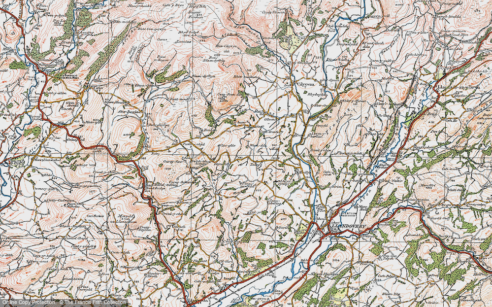 Old Map of Historic Map covering Afon Mynys in 1923