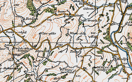 Old map of Afon Mynys in 1923