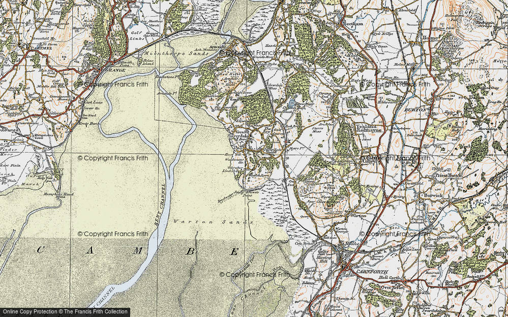 Old Map of Historic Map covering Lindeth Twr in 1925