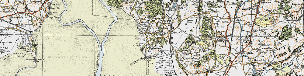 Old map of Lindeth Twr in 1925