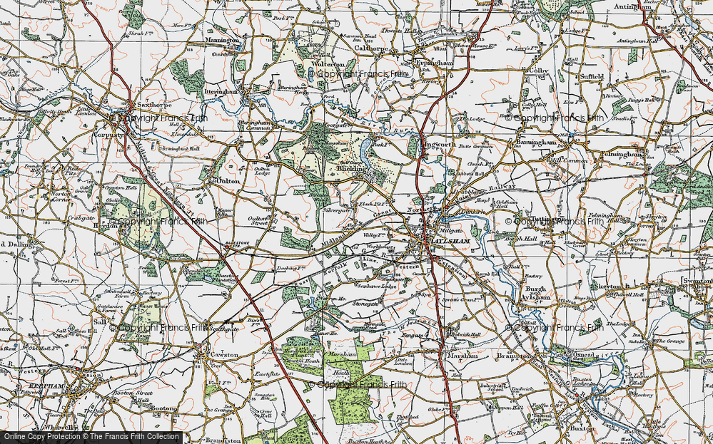Old Map of Historic Map covering Woodgate Ho in 1922