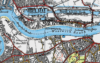 Old map of Woolwich Reach in 1920