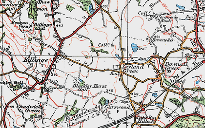 Old map of Simm's Lane End in 1924