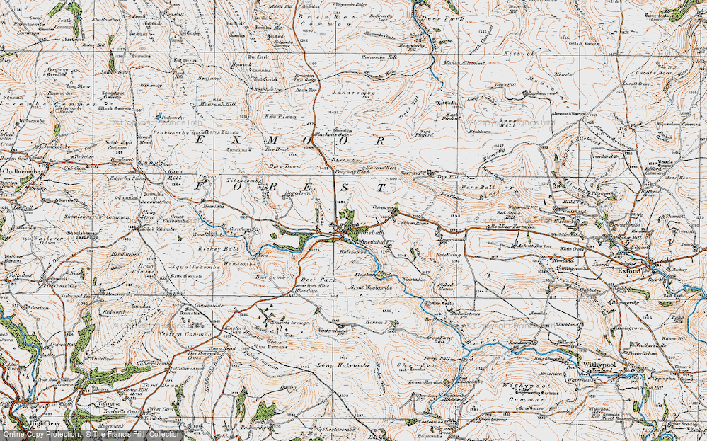 Old Map of Historic Map covering Lime Combe in 1919