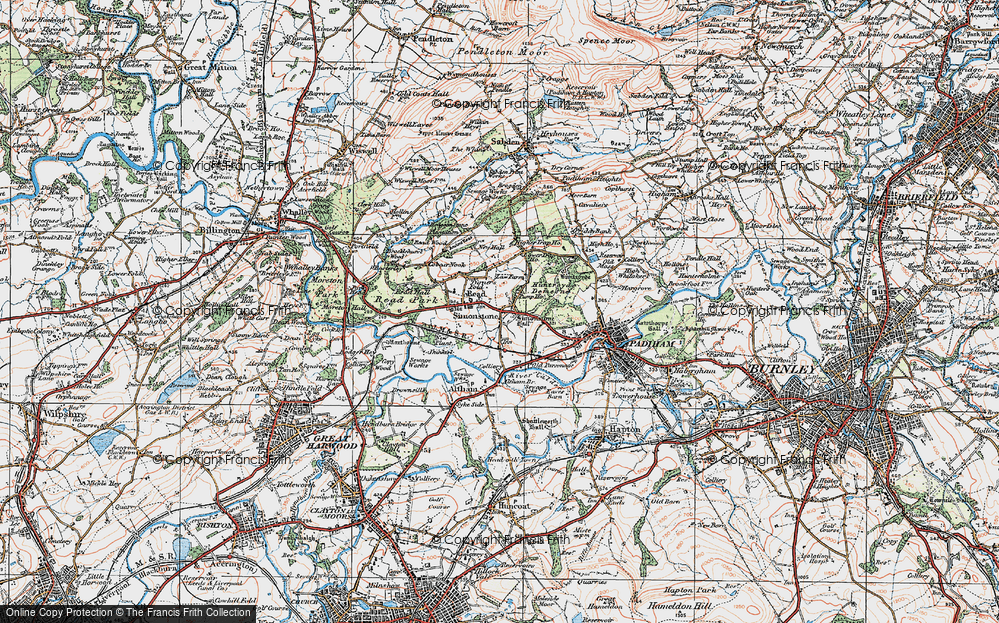 Old Map of Historic Map covering Altham Br in 1924