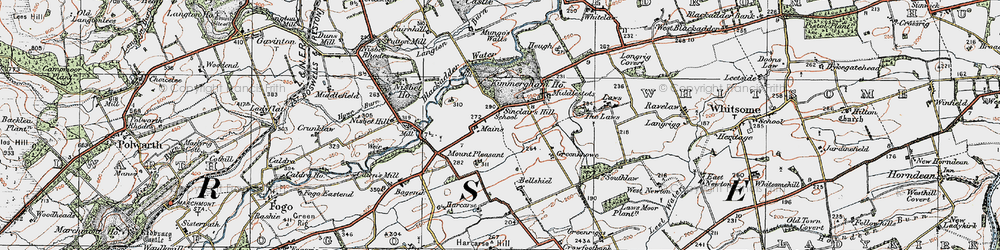 Old map of Whitsome Laws in 1926