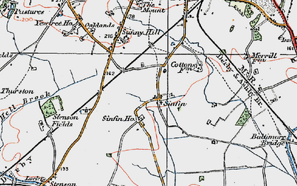 Old map of Sinfin in 1921